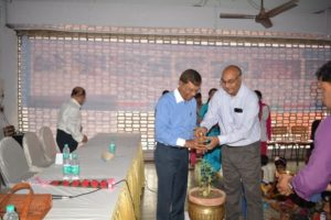 Dr. M.N. Roy & Mr. Sailesh Singh watering the plant to inaugurate the event